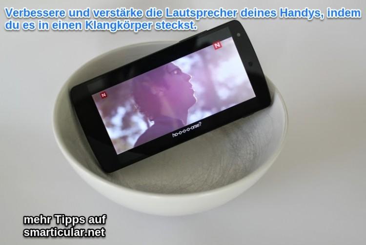 Schüssel als Klangverstaerker für dein Handy