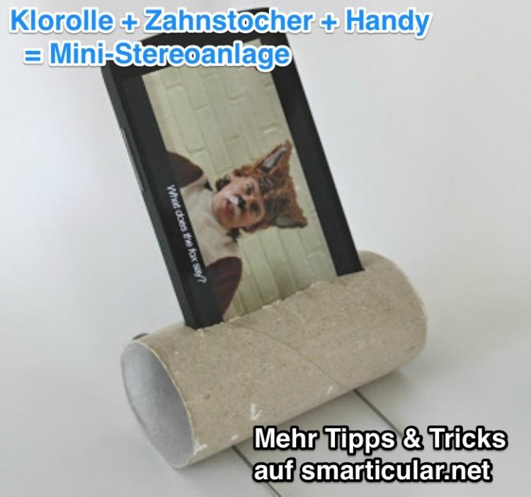 Toilettenpapierrolle als sound Verstärker leicht gemacht