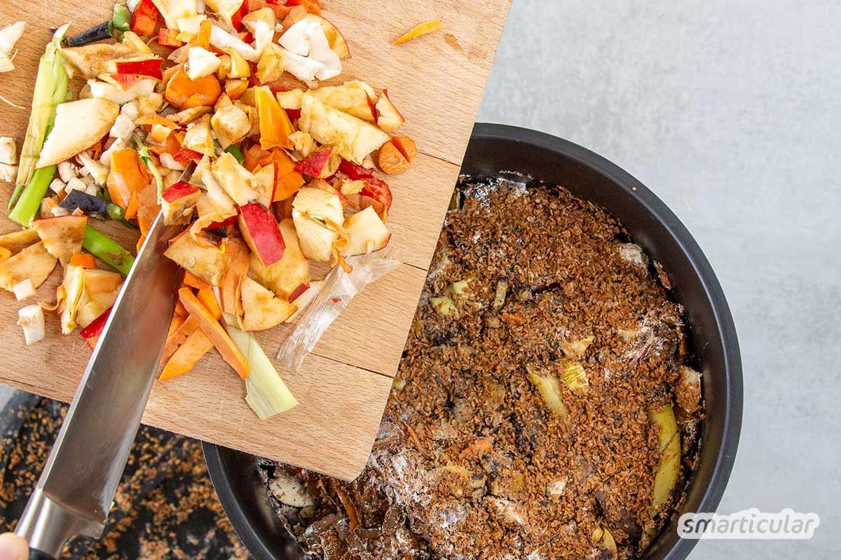 Ein Bokashi-Eimer verwandelt Küchenabfälle aller Art direkt in der Küche in wertvollen Flüssigdünger und hochkonzentrierten Kompost - mit Schritt für Schritt Anleitung.