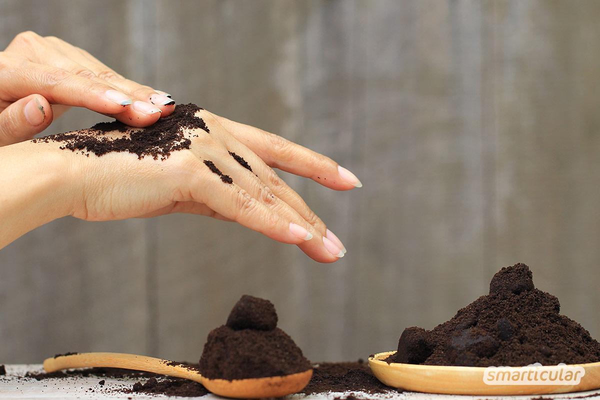 Mit diesem Kaffee-Peeling behandelst du einfach und effektiv Orangenhaut. Kaffeesatz und Öl ersetzen spielend teure Anti-Cellulite-Produkte.