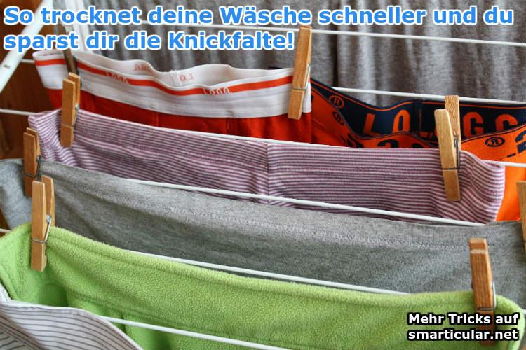 Wäsche trocknet schneller und ohne Knickfalte