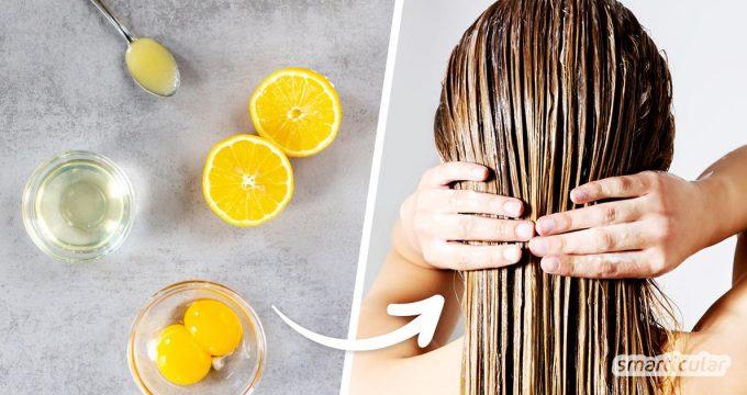 Eine kräftigende Haarkur mit Ei, Zitronensaft und Honig lässt sich ganz leicht selber machen - für natürlich schönes Haar ganz ohne Abfall.