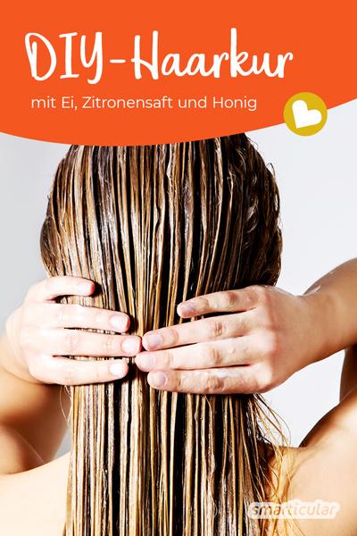 Eine kräftigende Haarkur mit Ei und Honig lässt sich ganz leicht selber machen - für natürlich schönes Haar ganz ohne Abfall und fragwürdige Inhaltsstoffe.