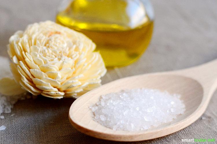 Klärendes Meersalz-Peeling mit Olivenöl selbst herstellen