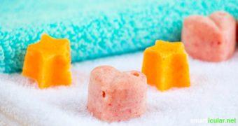 Wenn du dich mit einem besonderen Bad verwöhnen willst oder eine tolle Geschenkidee suchst, probiere doch deine eigenen Badepralinen herzustellen.