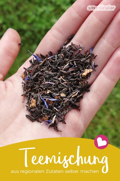 Tee muss nicht immer aus fernen Ländern importiert werden. Auch aus lokalen Kräutern und Früchten stellst du leicht und günstig einen leckern Trank her!