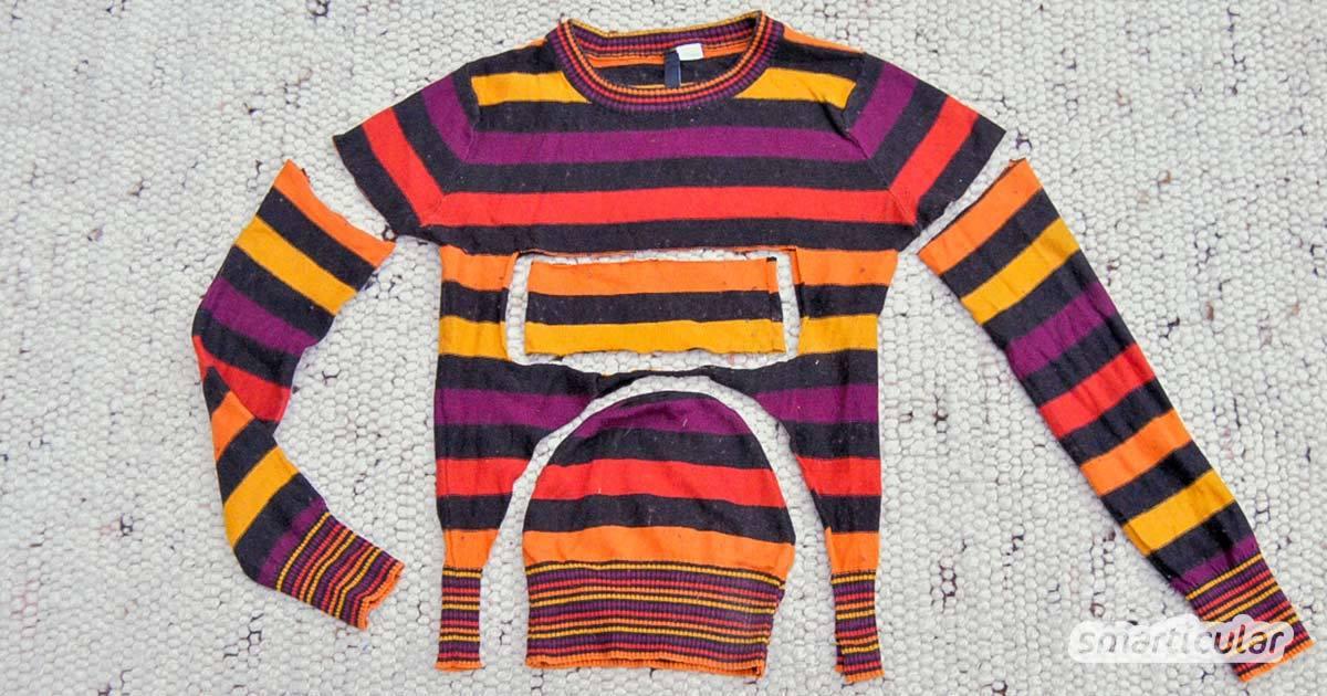 Alten Pullover entsorgen? Nein, denn daraus lassen sich noch tolle Winteraccessoires wie Handschuhe, Stulpen und eine Mütze nähen!