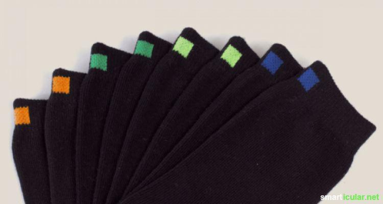 farbcodierte Socken machen das Wäschesortieren einfache