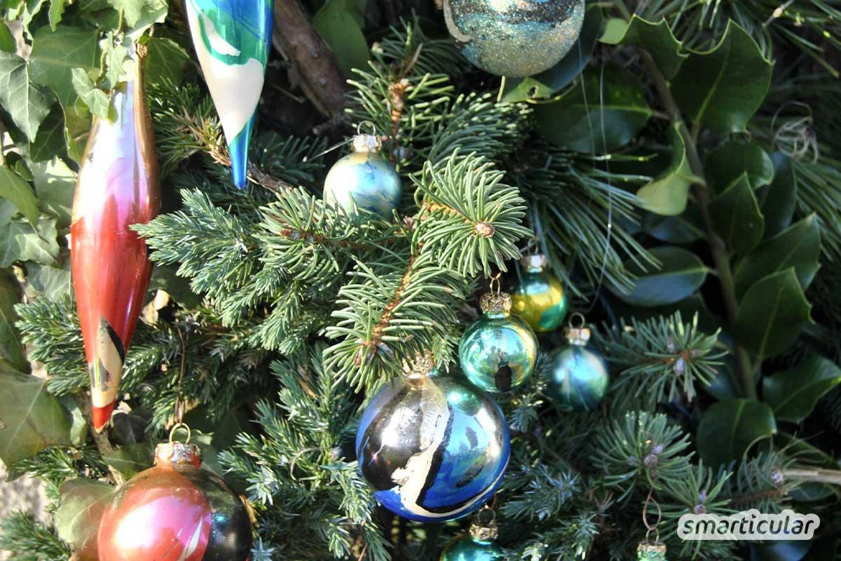 Wenn dir die alten Kugeln für deinen Tannenbaum zu fad sind, kannst du sie leicht und günstig aufpeppen. Hier sind 7 tolle Ideen mit Bildern für deinen Baum