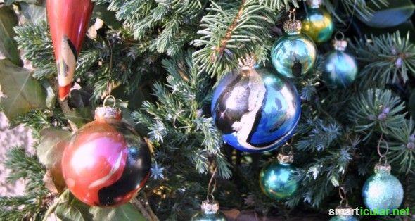 Christbaumkugeln Marmorieren.Weihnachtsbaumkugeln Aufwerten Statt Wegwerfen 7 Ideen