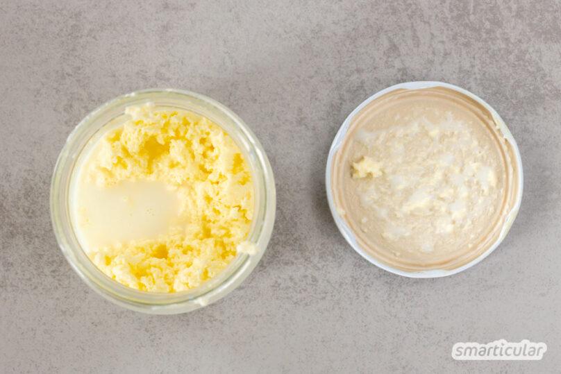 Statt sie zu kaufen, lässt sich Butter selber machen. Alles, was du dafür brauchst, ist Sahne, die es auch in Pfandflaschen gibt - ganz ohne Verpackungsmüll.