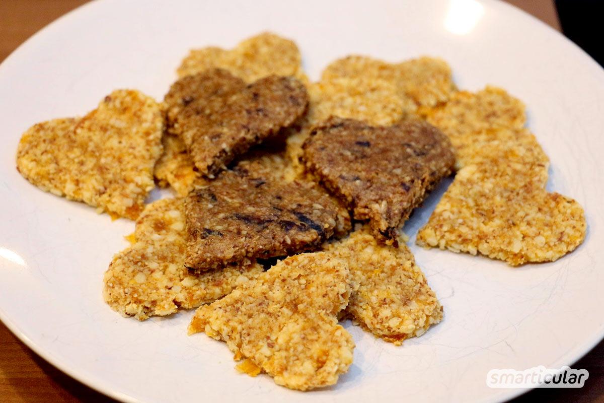 Lust auf einen Snack zwischendurch, aber gern etwas Gesünderes als Schoko- oder Müsliriegel aus dem Supermarkt? Dann sind diese Plätzchen genau richtig!