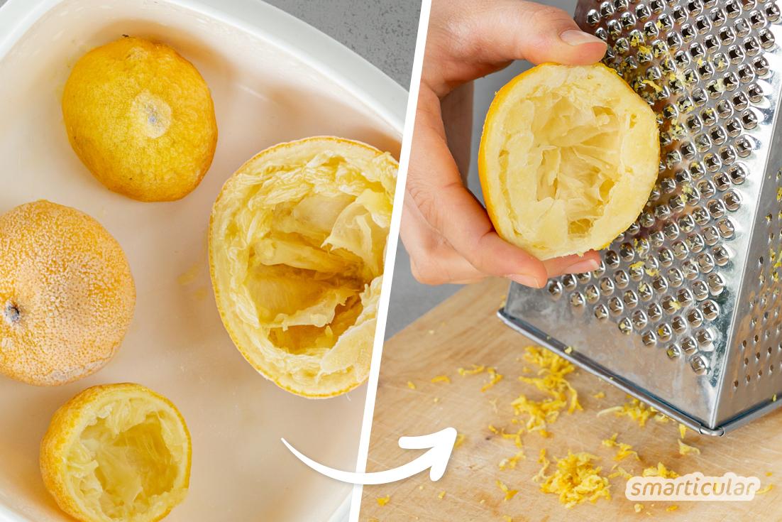 Zitronenschalen reiben - mit diesem simplen Trick gelingt es noch einfacher und sauberer! So geht vom wertvollen Zitronenabrieb auch wirklich nichts verloren.