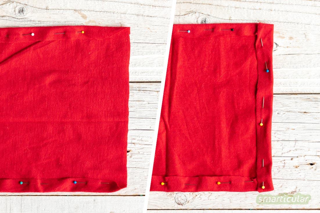 Stofftaschentücher lassen sich aus alten T-Shirts oder Hemden einfach selber nähen und sparen viel Geld und Müll gegenüber Einweg-Papiertaschentüchern.