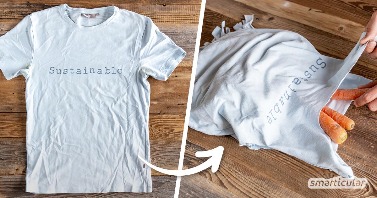Ein altes, ausgeleiertes T-Shirs muss nicht in der Altkleidersammlung oder im Müll landen. Du kannst es ruckzuck zu einem Einkaufsbeuteln upcyceln - sogar ohne Nähen!