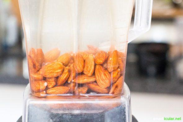 Pflanzenmilch aus Mandeln und Cashews ist lecker, gesund und leider auch sehr teuer! Selbstgemacht ist sie günstiger, gesünder und du reduzierst Abfall!