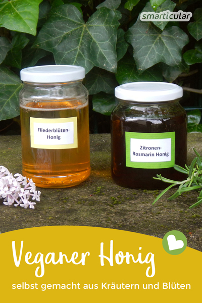 Vonig, veganer Honig: eine vegane Alternative zu Bienenhonig lässt sich mit diesem Rezept aus Blüten und Kräutern ganz einfach selber herstellen.