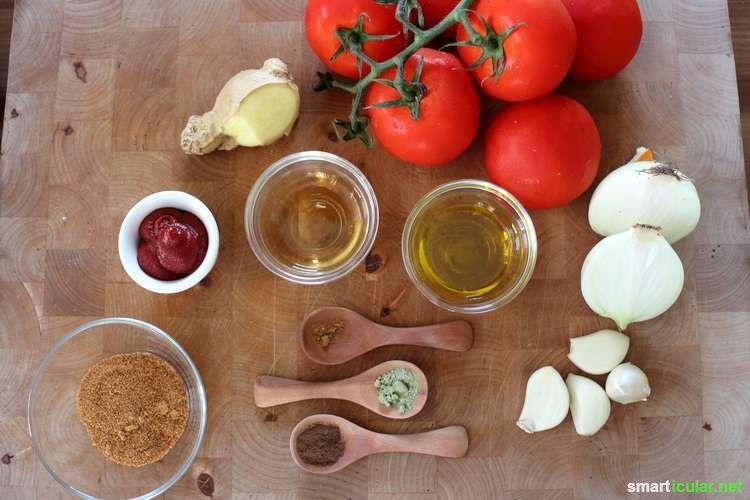 Suchst du eine einfache Alternative zu Supermarkt-Ketchup ohne viel Zucker und Salz? Mit diesem Rezept stellst du eine leckere Alternative zu Ketchup her