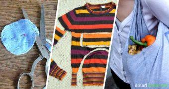 Alte T-Shirts, Pullover oder Handtücher wegwerfen? Muss nicht sein, denn du kannst mit wenigen Handgriffen und etwas Fantasie tolle neue Dinge zaubern!