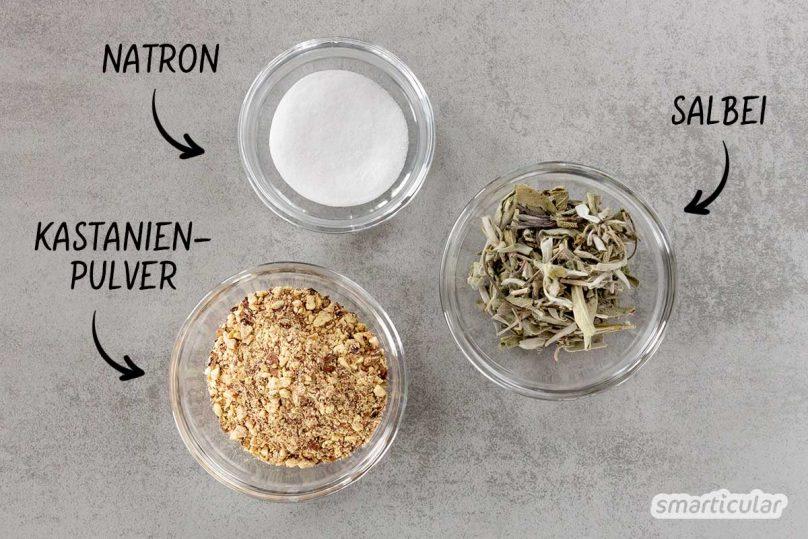 Mit Kastanien kann man nicht nur Wäsche waschen, sondern auch die Zähne putzen. Dank Rosskastanien, Natron und Salbei werden Zähne wieder weiß!