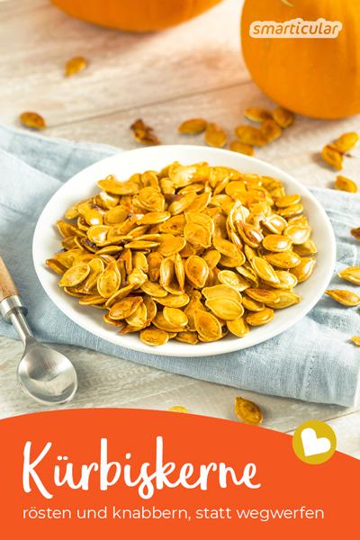 Wenn du Kürbis verarbeitest, kannst du die übrig bleibenden Kürbiskerne rösten - ein gesunder, süßer oder salziger Knabber-Snack für zwischendurch.