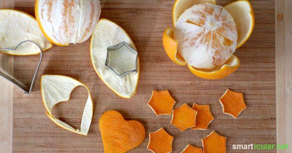 Suchst du noch eine originelle Bastelidee für die Vorweihnachtszeit? Stell doch einmal Deko aus den Schalen von Orangen und anderen Zitrusfrüchten her!