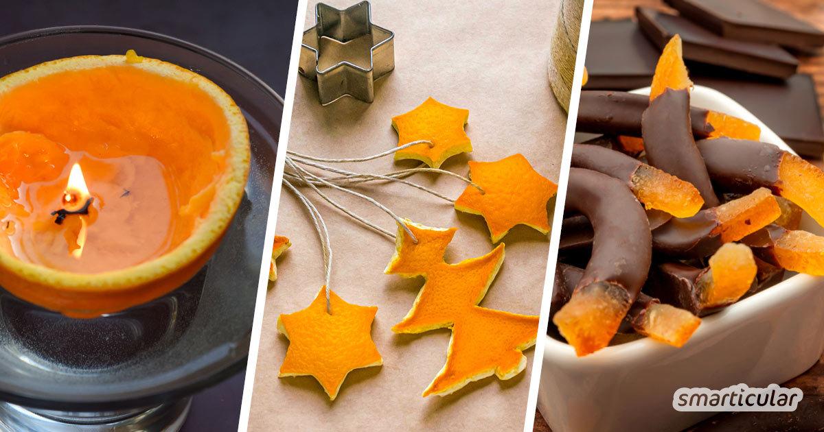 Orangenschalen zu verwerten anstatt sie wegzuwerfen, kann in Haushalt, Küche und bei der Körperpflege ausgesprochen nützlich sein!