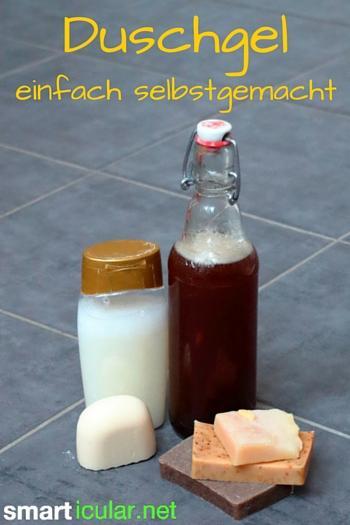 Mit diesem einfachen Rezept aus zwei Zutaten kannst du ein natürliches Duschgel hersellen, Geld sparen und die Umwelt schonen.