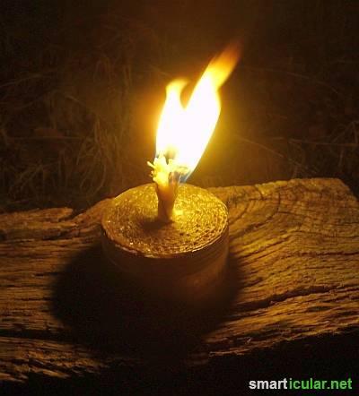 Aus einfachsten Mitteln lässt sich leicht eine wetterfeste Kerze für den Garten, die Terrasse oder den Camping-Ausflug herstellen. Finde heraus wie es geht!