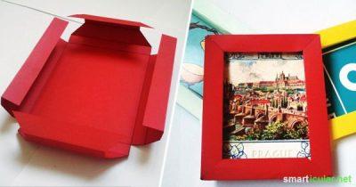 Warum teure Rahmen kaufen, wenn man in nur wenigen Minuten einen schönen Rahmen aus Papier selber basteln kann? Das wird das perfekte Geschenk!