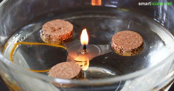 Mit dieser einfachen Bastelanleitung stellst du dein eigenes Schwimmlicht her und brauchst nie wieder Kerzen oder Teelichter kaufen!