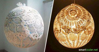 Mit ein paar einfachen Hilfsmitteln kannst du aus alten Deckchen, Bast, Garn oder Wolle wunderschöne Lampenschirme basteln.