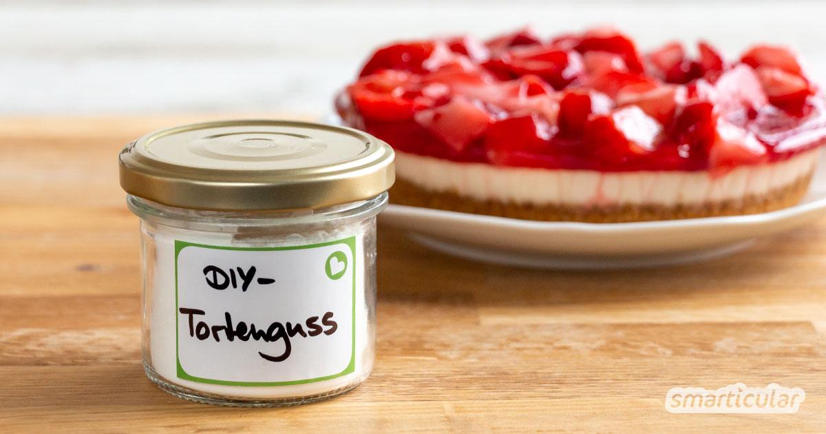 Mit diesem einfachen Rezept kannst du Tortenguss ganz ohne unnötige und fragwürdige Inhaltsstoffe zubereiten. Gut für die Gesundheit und den Geldbeutel!