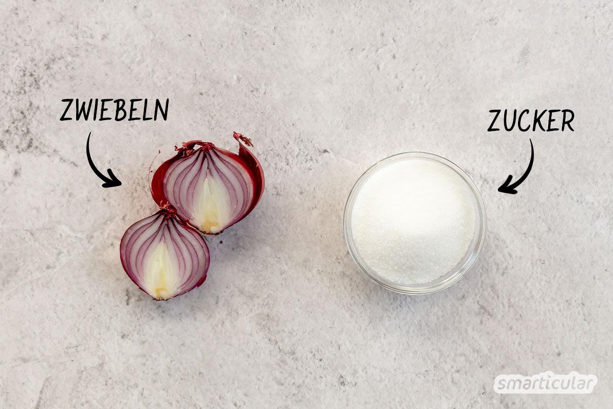 Zwiebelsaft ist ein bewährtes Heilmittel gegen Husten, das du mit diesem Rezept für Zwiebelhustensaft ganz einfach selbst herstellen kannst.