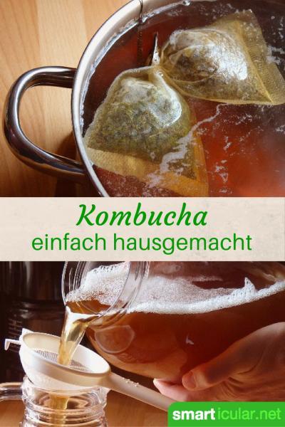 Selbstgemachte Kombucha Getränke sind günstiger und gesünder! Erfahre wie einfach sie herzustellen sind in unserem Kombucha Grundrezept.