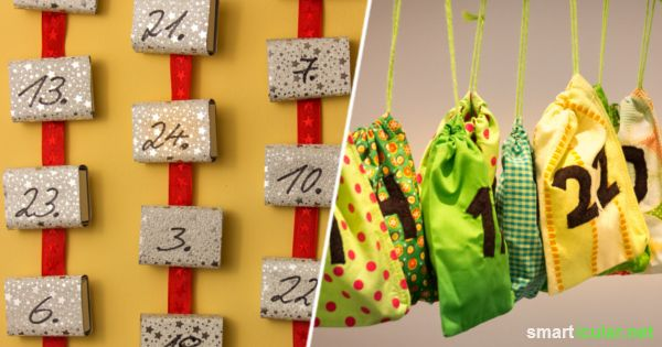 So einfach kannst du aus Dosen, Streichholzschachteln, Klorollen, Altglas oder Papiertüchen wunderschöne Adventskalender basteln!