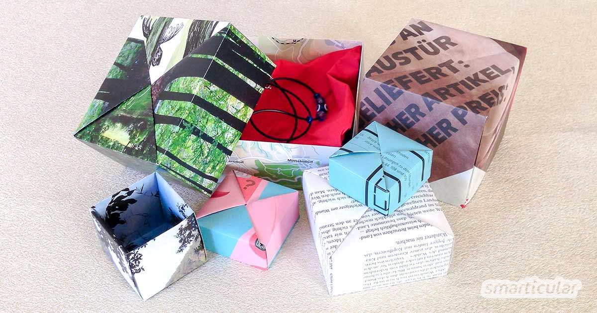 Schenken Ohne Verpackungsmüll Faltschachtel Aus Altpapier