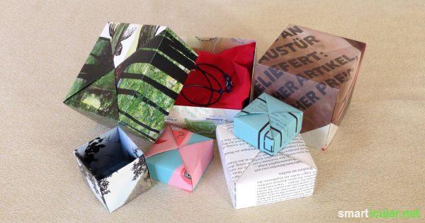 schenken ohne verpackungsm ll faltschachtel aus altpapier. Black Bedroom Furniture Sets. Home Design Ideas