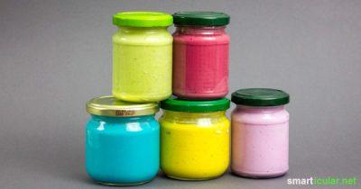 Fingerfarben preiswert und einfach selber machen aus wenigen Küchenzutaten.