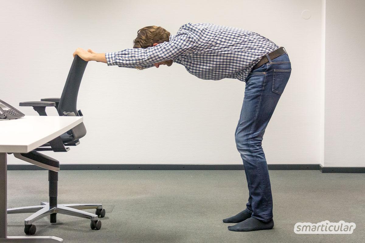 Keine Rückenschmerzen oder Verspannungen mehr durch langes Sitzen. Fünf Yogaübungen für zwischendurch.