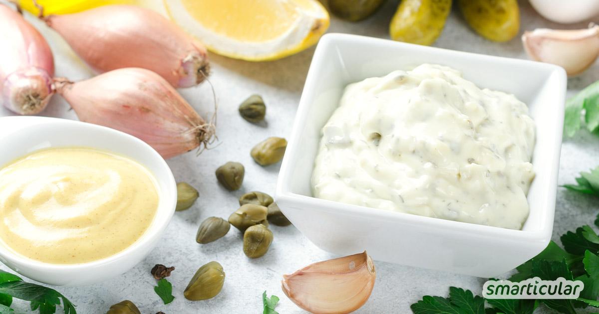 Mayonnaise, Aioli und Remoulade selbst gemacht: Mit diesen Rezepten (mit Ei und vegan) gelingt die Zubereitung für die köstlichen Klassiker sehr einfach.