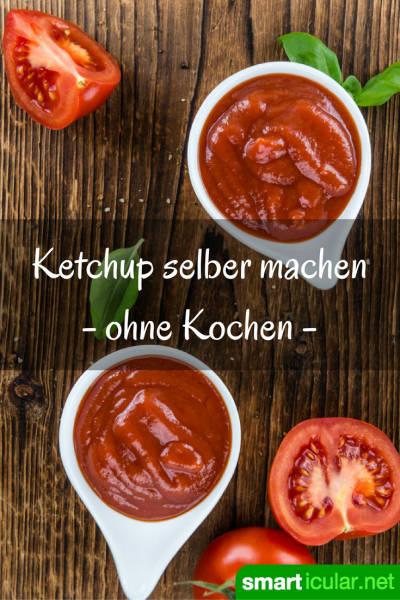 Dieser selbstgemachte Ketchup ohne Zusatzstoffe und ohne Zucker ist im Handumdrehen fertig. Du wirst nie wieder fertigen kaufen wollen!