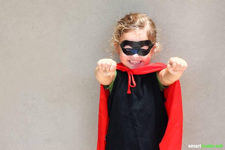 Mit ein bisschen Kreativität lassen sich mit wenig Geld tolle Kinder-Kostüme zu Fasching usw basteln. Die Materialien hast du wahrscheinlich schon zu Hause!