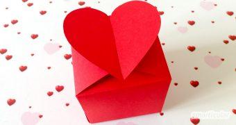 Eine schöne Verpackung wertet jedes Geschenk auf. Mit dieser Vorlage bastelst du in wenigen Minuten eine romantische Herzschachtel!