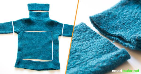 Eingelaufene oder abgetragene Wollkleidung nicht wegwerfen! Erfahre hier, wie viele schöne und praktische Dinge du aus dem Wollfilz herstellen kannst.