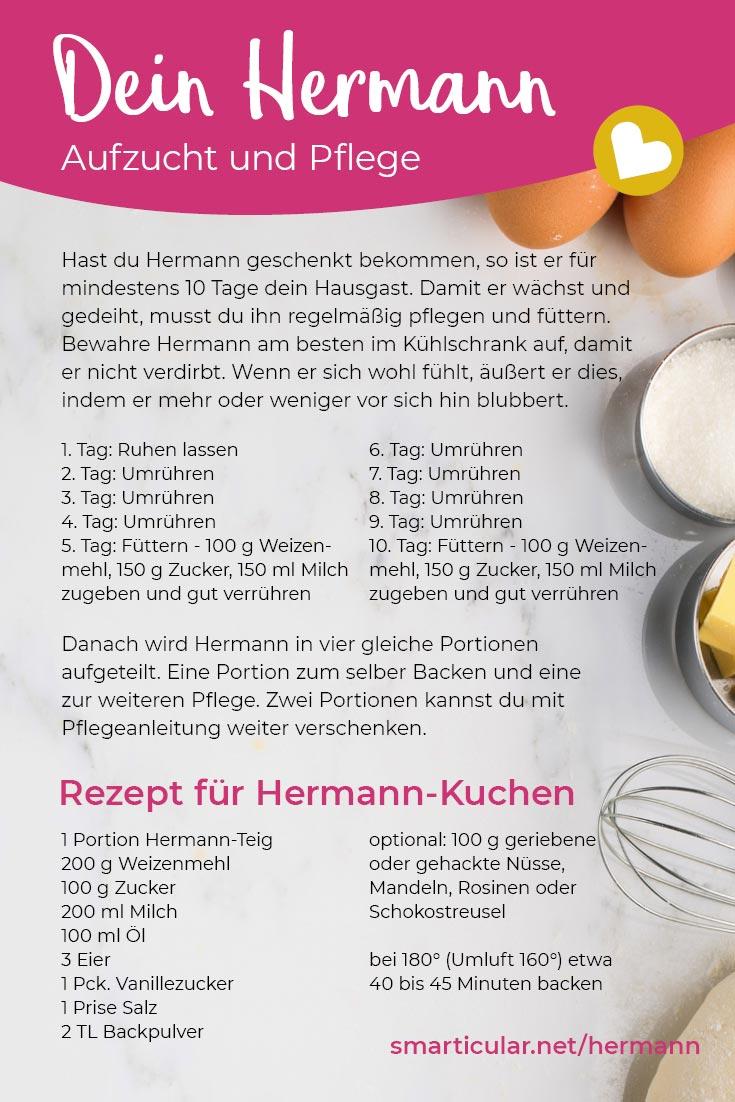 Der Hermann-Teig ist wieder da! Hier findest du die Anleitung zur Pflege des Sauerteigs sowie einfache Rezepte zum Backen von Kuchen und Brot mit Hermann.