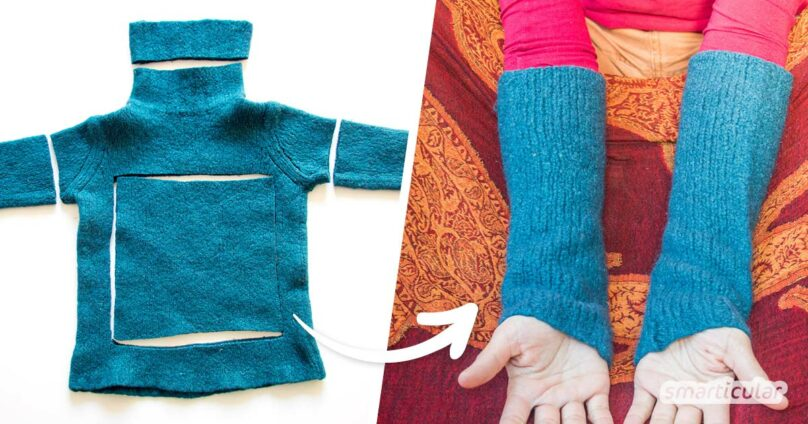Eingelaufene Wollpullover lassen sich noch vielseitig verwenden. Du kannst zum Beispiel Stulpen, Sitzkissen oder eine Flaschenhülle aus dem Filz nähen.