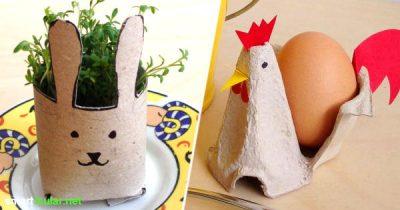 Upcycling fürs Osterfest: So einfach kannst du hübsche Osterdeko aus Klorollen und Eierkartons basteln.