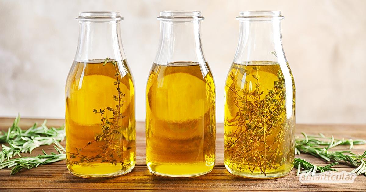 Kräuteröl selber zu machen, ist eine wunderbare Methode, um die Kräuteraromen für Wochen bis Monate zu konservieren - auch als Geschenk aus der Küche.