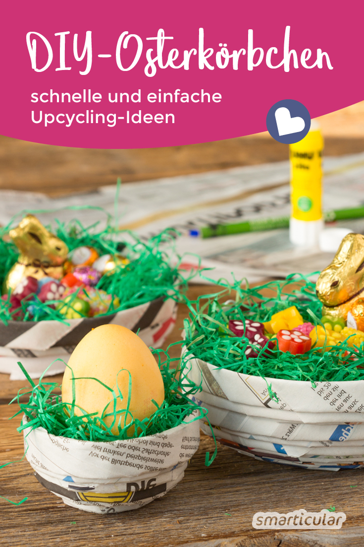 Osterkörbchen basteln statt kaufen. Mit diesen Upcycling-Ideen stellst du einfach und blitzschnell ein schönes Osterkörbchen in Wunschgröße her.